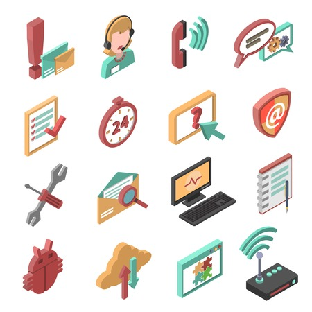 telephone: Telephone and internet technical support isometric icons set isolated vector illustration