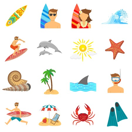 Surfing icons flat set with board beach and snorkeling isolated vector illustration Illustration