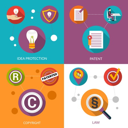 internet protection: Patent idea protection design concept set with copyright and law flat icons isolated vector illustration