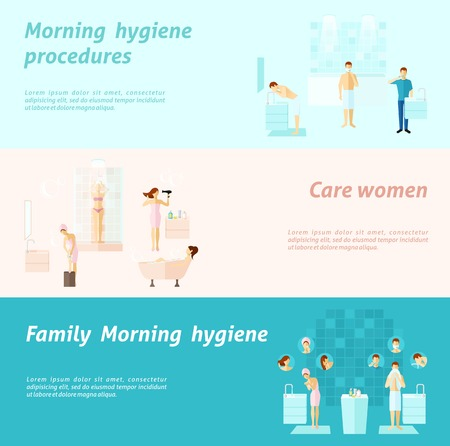 exfoliation: Morning personal and family hygiene and woman care flat horizontal banners set isolated vector illustration