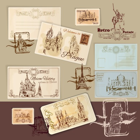 stamps: Vintage postcards template set with hand drawn landmarks and stamps vector illustration
