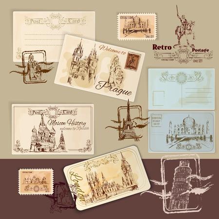 timbre postal: Vintage tarjetas postales plantilla de conjunto con dibujados a mano las señales y sellos ilustración vectorial