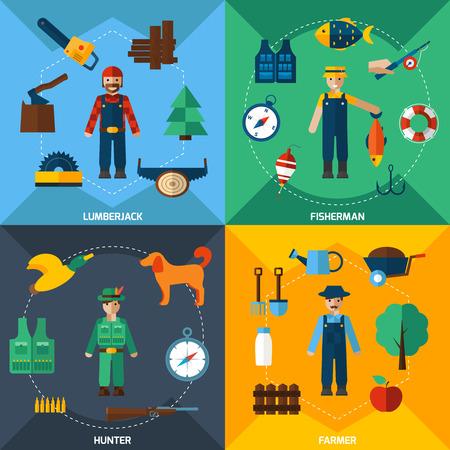 cazador: Cazador leñador pescador y agricultor con herramientas de iconos planos conjunto aislado ilustración vectorial