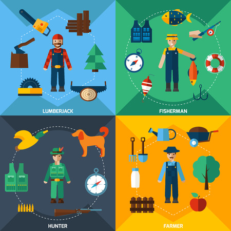 Fisherman lumberjack hunter and farmer with tools flat icons set isolated vector illustration