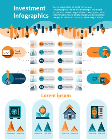 infocharts: Investment infographics set with financial analytics symbols and infocharts vector illustration Illustration
