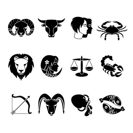 archer fish: Stylized icons set of twelve zodiac signs for every day of birth  black  abstract isolated vector illustration