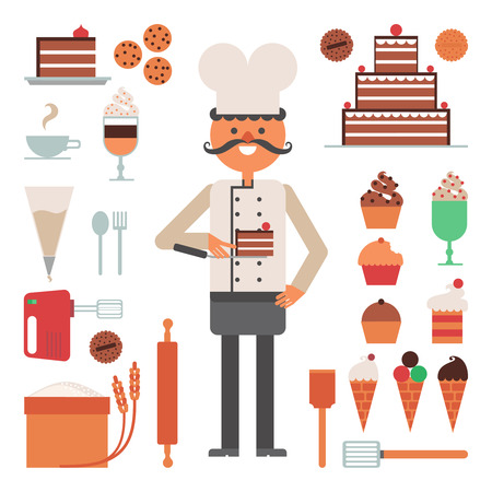confectioner: Confectioner man with cakes and pies ice cream and tools or accessories flat color concept vector illustration