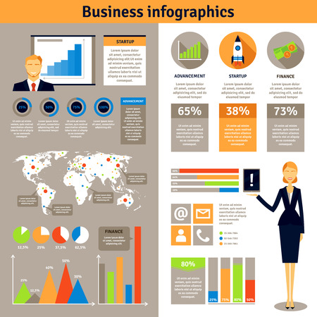 new business: New business successful startup projects man woman statistic infographic 2 flat banners set poster abstract vector illustration Illustration