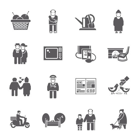 cane chair: Active healthy pensioners life style grey icons set isolated vector illustration