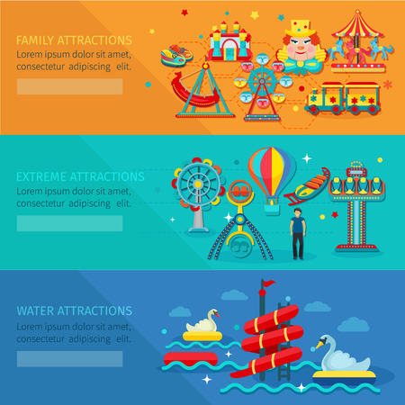amusement park rides: Amusement park horizontal banner set with water family extreme attractions flat elements isolated vector illustration