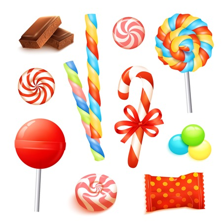 cane: Candies and sweets set with realistic chocolate icons isolated vector illustration