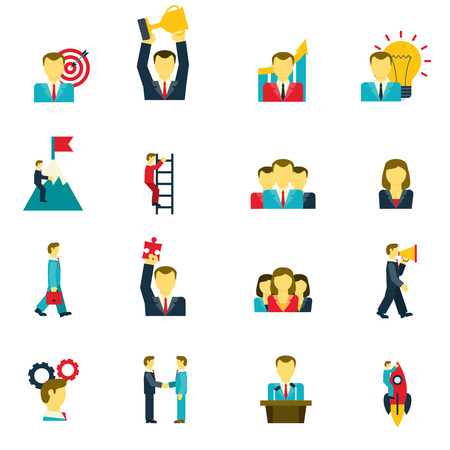leadership: Leadership and success in business life and at work icons set flat isolated vector illustration