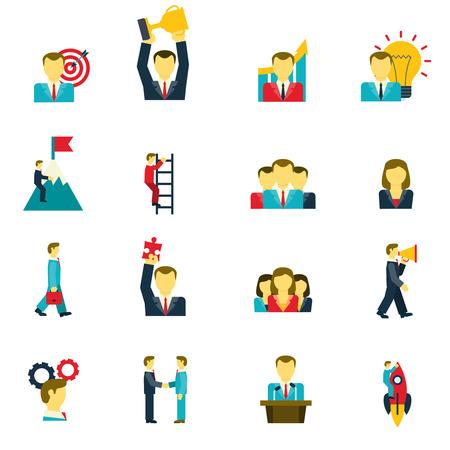 liderazgo empresarial: Liderazgo y éxito en la vida empresarial y en los iconos de trabajo conjunto aislado plana ilustración vectorial
