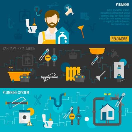 Loodgieter horizontale banner set met sanitaire installatie sanitair systeem elementen geïsoleerd vector illustratie
