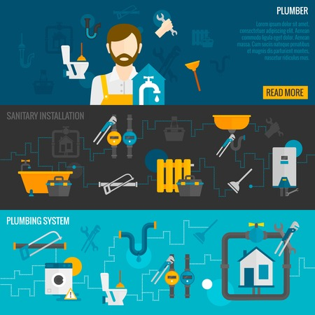 Plumber horizontal banner set with sanitary installation plumbing system elements isolated vector illustration Иллюстрация