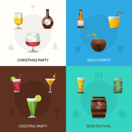 tomato cocktail: Drinks design concept set with christmas cocktail party beer festival polygonal icons isolated vector illustration
