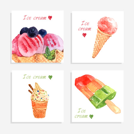 whipped cream: Multi flavored ice cream bar on stick and waffle cones icons collection banner watercolor abstract vector illustration Illustration