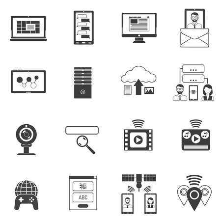 it tech: IT and computer network support icons black set isolated vector illustration Illustration