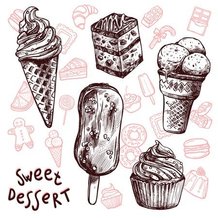 Helado y pasteles dulces boceto conjunto aislado ilustración vectorial
