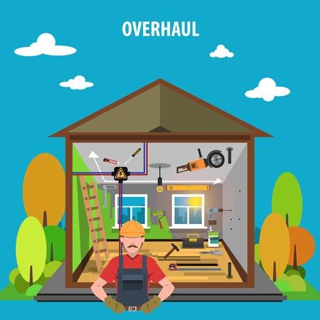 overhaul: Concetto di casa Riparazione completa con le icone della lavorazione del legno Flat illustrazione vettoriale