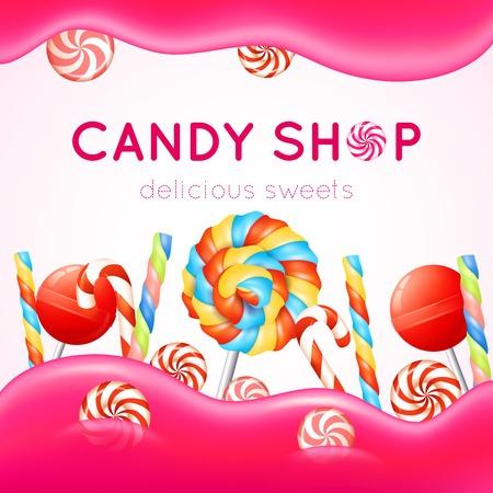 golosinas: Cartel Candy shop con los caramelos multicolores sobre fondo blanco y rosa ilustración vectorial