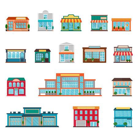 centro comercial: Tiendas y supermercados grandes y pequeños edificios iconos conjunto plana aislado ilustración vectorial