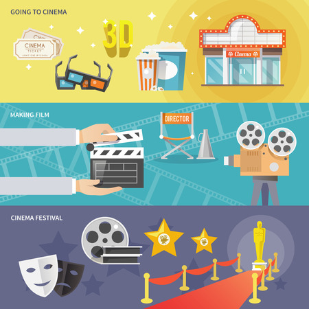 film projector: Cinema festival movie theater tickets set and prize winning film production horizontal banners abstract flat vector illustration