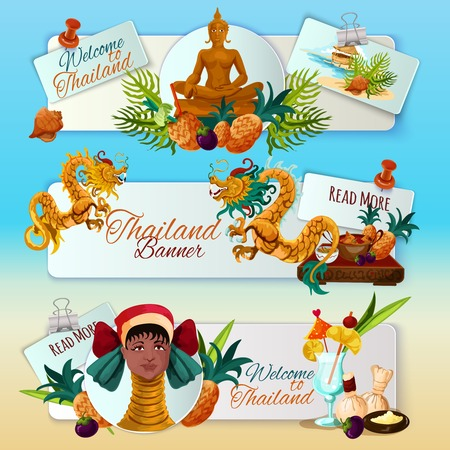 cuisine entertainment: Thailand touristic banners horizontal set with cartoon traditional culture elements isolated vector illustration Illustration