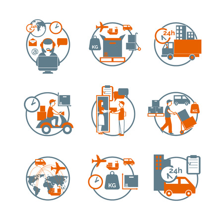 Logistic advanced international modern parcels delivery customer service concept circle stylized pictograms collection abstract isolated vector illustration Ilustração