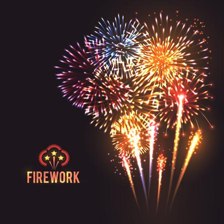 fuegos artificiales: Cohetes de fuegos artificiales que estallan festivos en gran espumoso cartel bolas de estrellas con el fondo negro resumen ilustraci�n vectorial