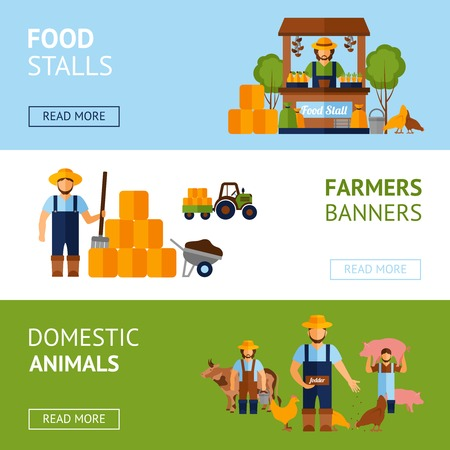 farmer: Farmers horizontal banner set with domestic animals and food elements flat isolated vector illustration