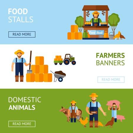 agricultor: Los agricultores banner horizontal establece con los animales dom�sticos y elementos del alimento plana aislado ilustraci�n vectorial Vectores