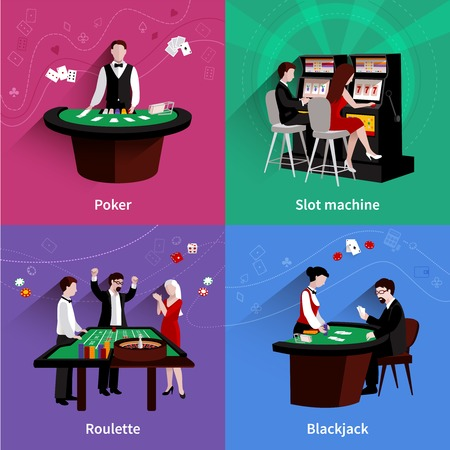 slot machines: Las personas en el casino concepto de diseño establecidos con iconos poker blackjack plana máquina tragaperras ruleta aislado ilustración vectorial