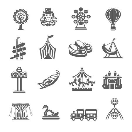 roller coaster: Amusement park grey icons set with clown balloon merry-go-round isolated vector illustration