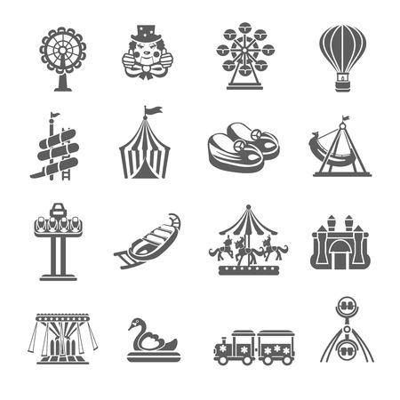 payaso: Iconos grises parque de atracciones establecen con el globo del payaso merry-go-round aislado ilustración vectorial Vectores