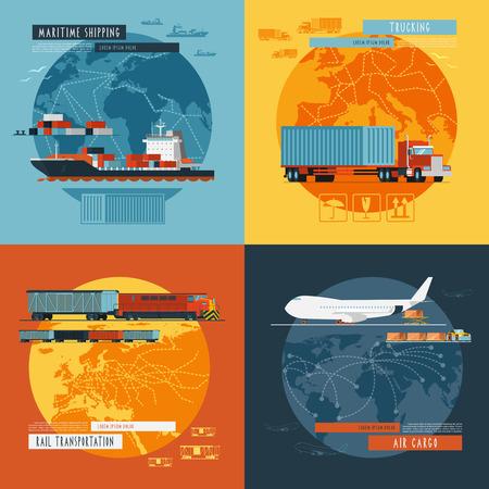 transport: Logistieke zeescheepvaart en luchtvracht transport wereldwijd 4 vlakke pictogrammen samenstelling banner abstract geïsoleerde vector illustratie Stock Illustratie