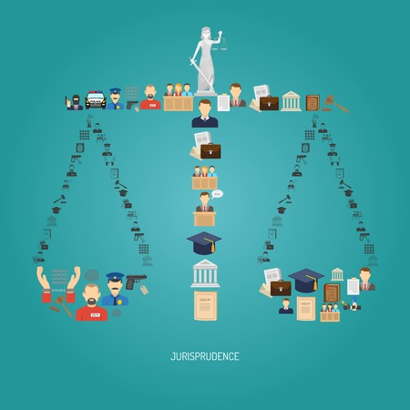 enforcement: Justice concept with law icons in scales shape flat vector illustration
