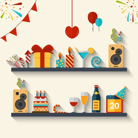 wish of happy holidays: Celebration concept with flat holiday symbols set of gifts cakes and balloons vector illustration Illustration