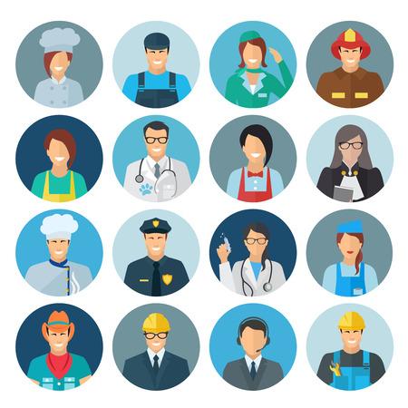 Beroep avatar flat icon set met geïsoleerde chef monteur politieagent vector illustratie