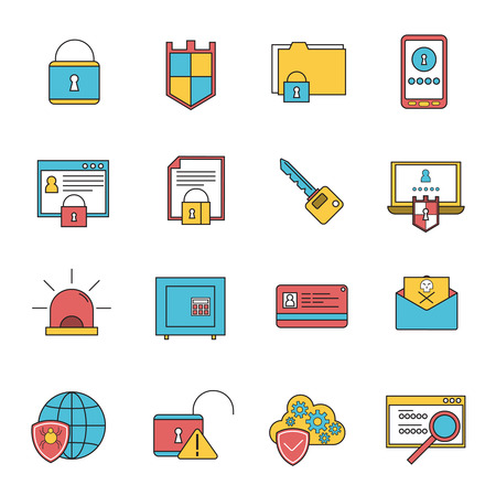 removal: Computer security virus malware removal and protection service shield software line icons collection abstract isolated vector illustration