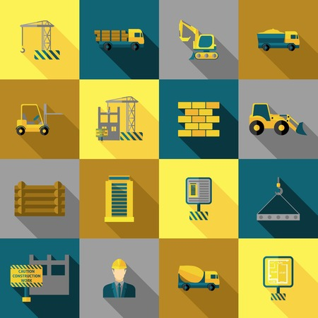 building industry: Construction and building industry icons flat long shadow set isolated vector illustration