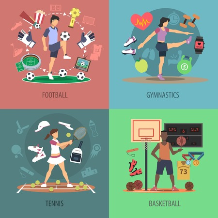 gymnastics sports: Sport people design concept set with football gymnastics tennis and basketball flat icons isolated vector illustration