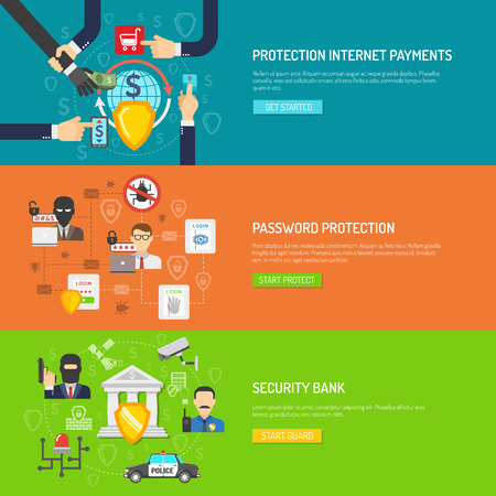internet protection: International internet banking malware and hackers protection safeguard system flat  horizontal banners set abstract isolated vector illustration