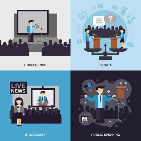 Spreken in het openbaar ontwerpconcept set met geïsoleerde conferentie debat uitgezonden vlakke pictogrammen vector illustratie