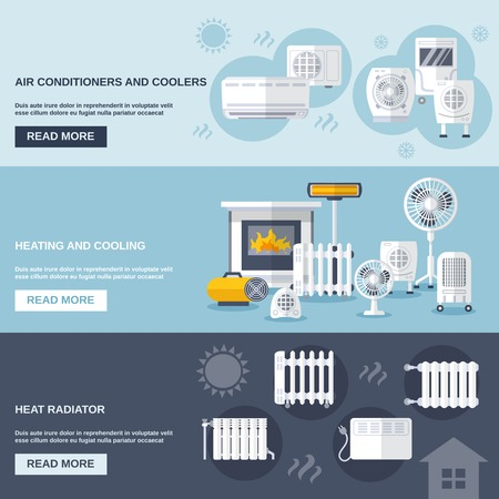 air flow: Heating and cooling banner set with conditioner flat elements isolated vector illustration