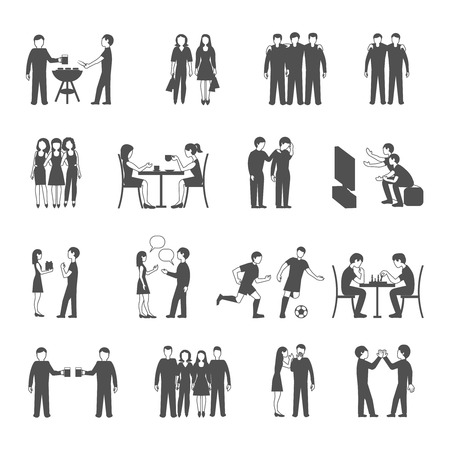time sharing: Colleagues friends and classmates groups sharing  free time activities concept black icons set abstract isolated vector illustration