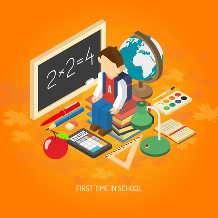 scholar: First school day educational isometric poster with scholar sitting on his books with backpack abstract vector illustration