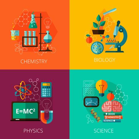 Concepto de laboratorio de física biológica y la educación científica química 4 iconos planos composición impresión abstracta ilustración vectorial aislado