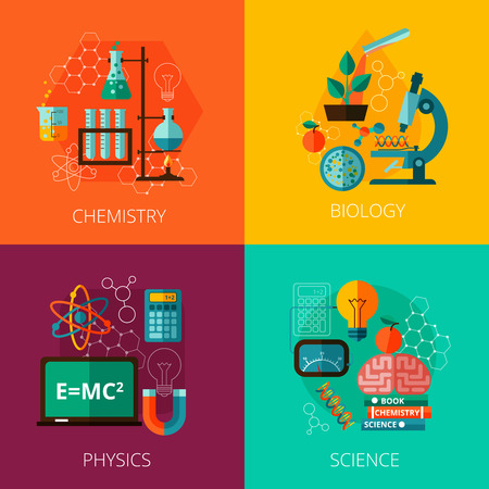 química: Concepto de laboratorio de física biológica y la educación científica química 4 iconos planos composición impresión abstracta ilustración vectorial aislado
