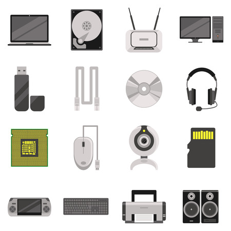 electronic components: Laptop and computer with components and accessories and electronic devices flat icons set isolated vector illustration Illustration